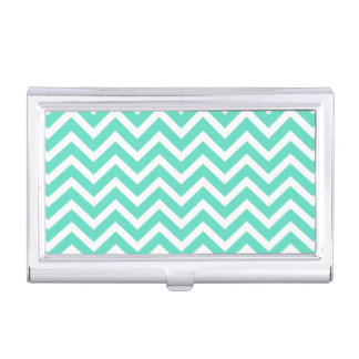 Chevron Zig Zag in Tiffany Aqua Blue Business Card Holder