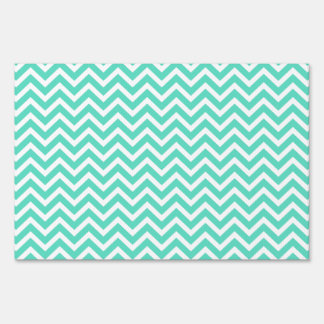 Chevron Zig Zag in Tiffany Aqua Blue Sign