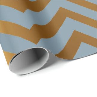 Chevron Zig Zag Navy Aqua Gray Gold Stripes Wrapping Paper