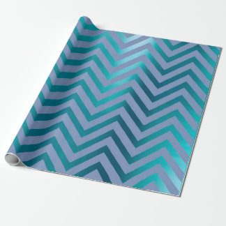 Chevron Zig Zag Navy Aqua Teal Blue Stripes Wrapping Paper
