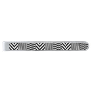 Chevron Zig Zag Pattern Custom Classic Tie Bar Silver Finish Tie Clip