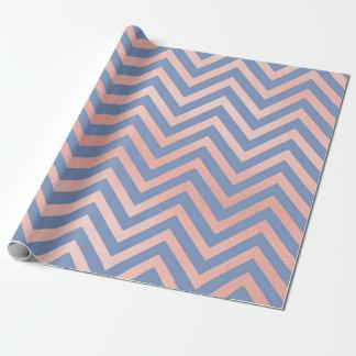 Chevron Zig Zag Peach Navy Aqua Blue Stripes Wrapping Paper