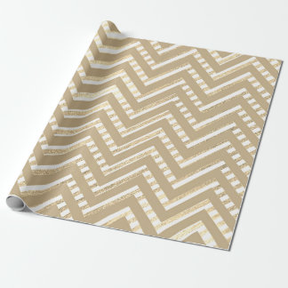 Chevron Zig Zag Sepia Gold Geometry White Stripes Wrapping Paper