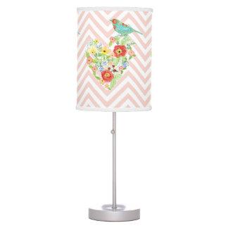 Chevron Zig Zag Stripe Silhouette Patterned Bird Table Lamp