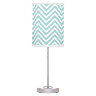 Chevron Zig Zag Striped Pattern in Aqua Blue White Table Lamp