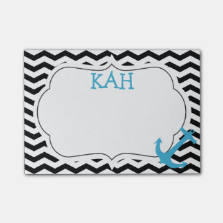 Chevron Zigzag Anchor Monogram Post-It Notes