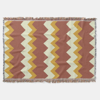Chevron zigzag design natural green brown gold throw
