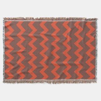 Chevron zigzag design red brown throw blanket