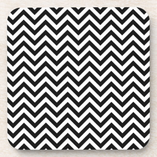 Chevron Zigzag Pattern Black and White Coaster