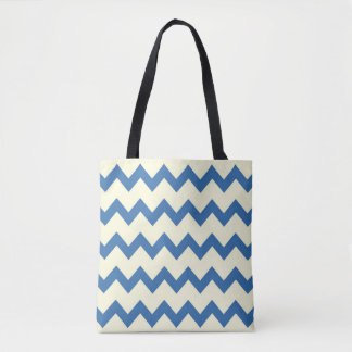 Chevron zigzag pattern denim blue and cream tote bag