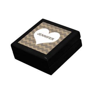 Chevron zigzag pattern heart custom name grey jewelry boxes