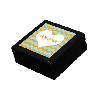 Chevron zigzag pattern heart custom name yellow trinket boxes