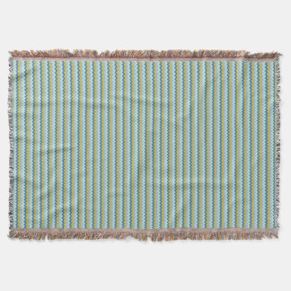 Chevron zigzag pattern in green blue colors throw blanket