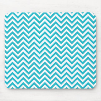 Chevron Zigzag Pattern Teal Blue and White Mouse Pad