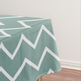 Chevron Zigzag Pattern Teal Green Tablecloth