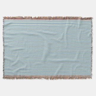 Chevron zigzag pattern two tone denim blue cream throw
