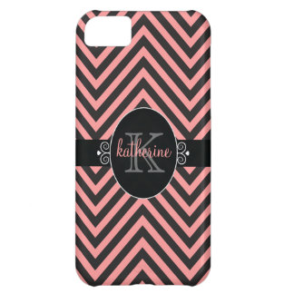 Chevron Zigzag Pattern with Monogram Pink | Black Cover For iPhone 5C