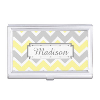 Chevron Zigzag Pattern Yellow Gray Monogram Business Card Holder