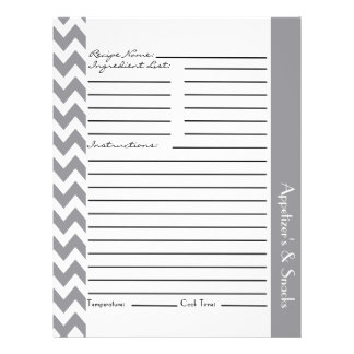 Chevron Zigzag Striped Recipe Sheets - Gray Flyer