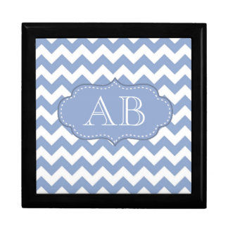 Chevrons and Stitched Label Blue Gift Box