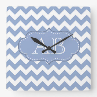 Chevrons and Stitched Label Blue Square Wall Clock