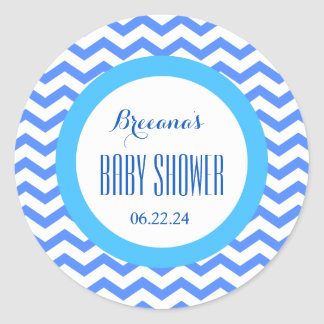CHEVRONS Boy Baby Shower Name Date V06 BLUE Classic Round Sticker