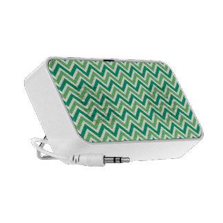 Chevrons green zigzag retro pattern, gift mini speakers