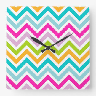Chevrons Stripe colorful Square Wall Clock