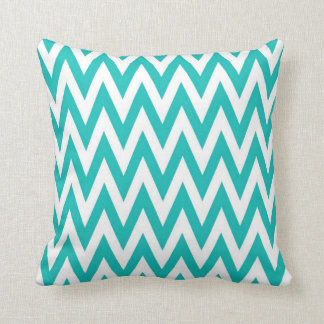 Chevronzag in Teal Throw Pillow