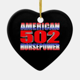 Chevy 502 big block Muscle Car Ceramic Heart Ornament