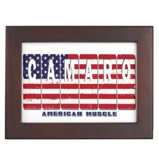 Chevy Camaro Chevrolet Patriotic Muscle Car Flag Keepsake Box