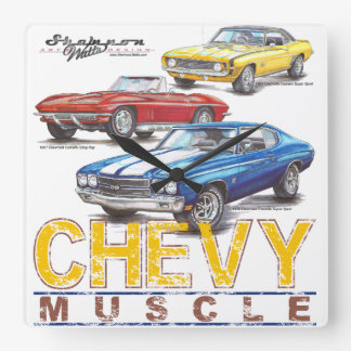 Chevy Muscle Square Clock