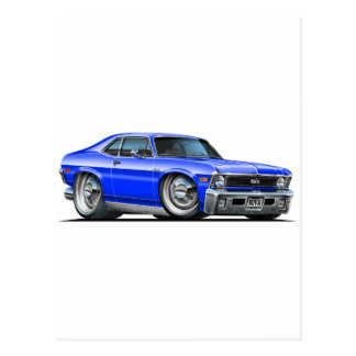 Chevy Nova Blue Car Postcard