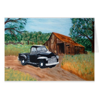 Chevy Pick-up and an old barn Card