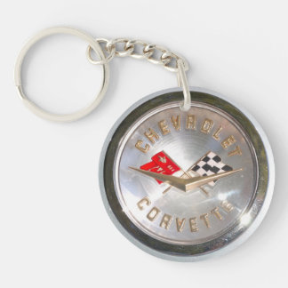 Chevy's Vette Double-Sided Round Acrylic Keychain