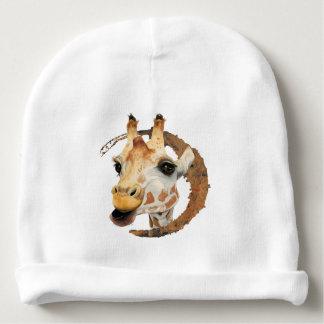 """""""Chew"""" 2 Giraffe Watercolor Painting Baby Beanie"""