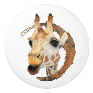 """Chew"" 2 Giraffe Watercolor Painting Ceramic Knob"