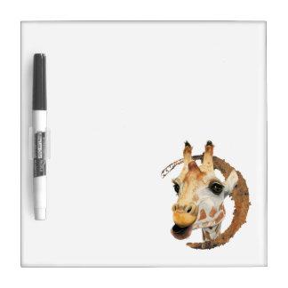 """Chew"" 2 Giraffe Watercolor Painting Dry Erase Board"