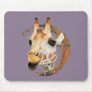 """""""Chew"""" 2 Giraffe Watercolor Painting Mouse Pad"""