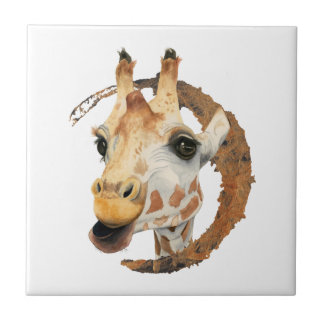"""Chew"" 2 Giraffe Watercolor Painting Tile"