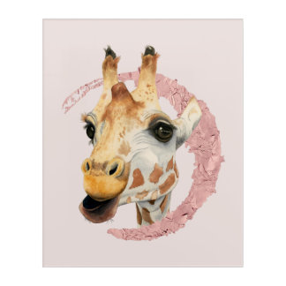 """Chew"" 3 Giraffe Watercolor Painting Acrylic Wall Art"