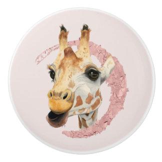 """Chew"" 3 Giraffe Watercolor Painting Ceramic Knob"