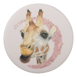 """Chew"" 3 Giraffe Watercolor Painting Eraser"