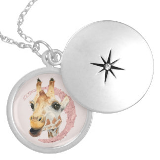 """Chew"" 3 Giraffe Watercolor Painting Silver Plated Necklace"