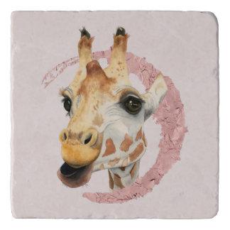 """Chew"" 3 Giraffe Watercolor Painting Trivet"