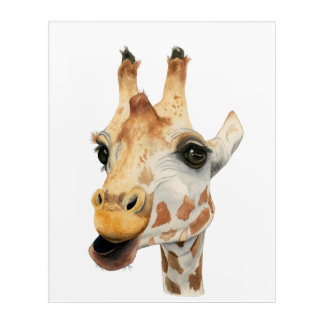 """Chew""  Giraffe Watercolor Painting Acrylic Print"