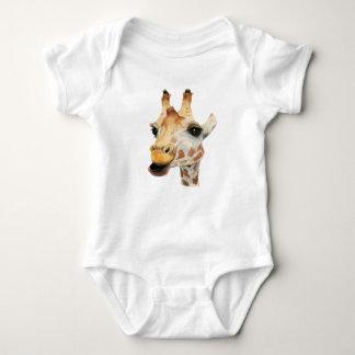 """Chew"" Giraffe Watercolor Painting Baby Bodysuit"