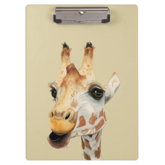 """Chew""  Giraffe Watercolor Painting Clipboard"