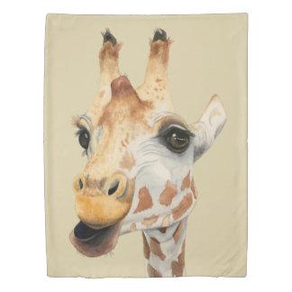"""Chew"" Giraffe Watercolor Painting Duvet Cover"