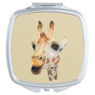 """Chew""  Giraffe Watercolor Painting Travel Mirror"